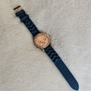 {Charming Charlie's} navy and rose gold watch